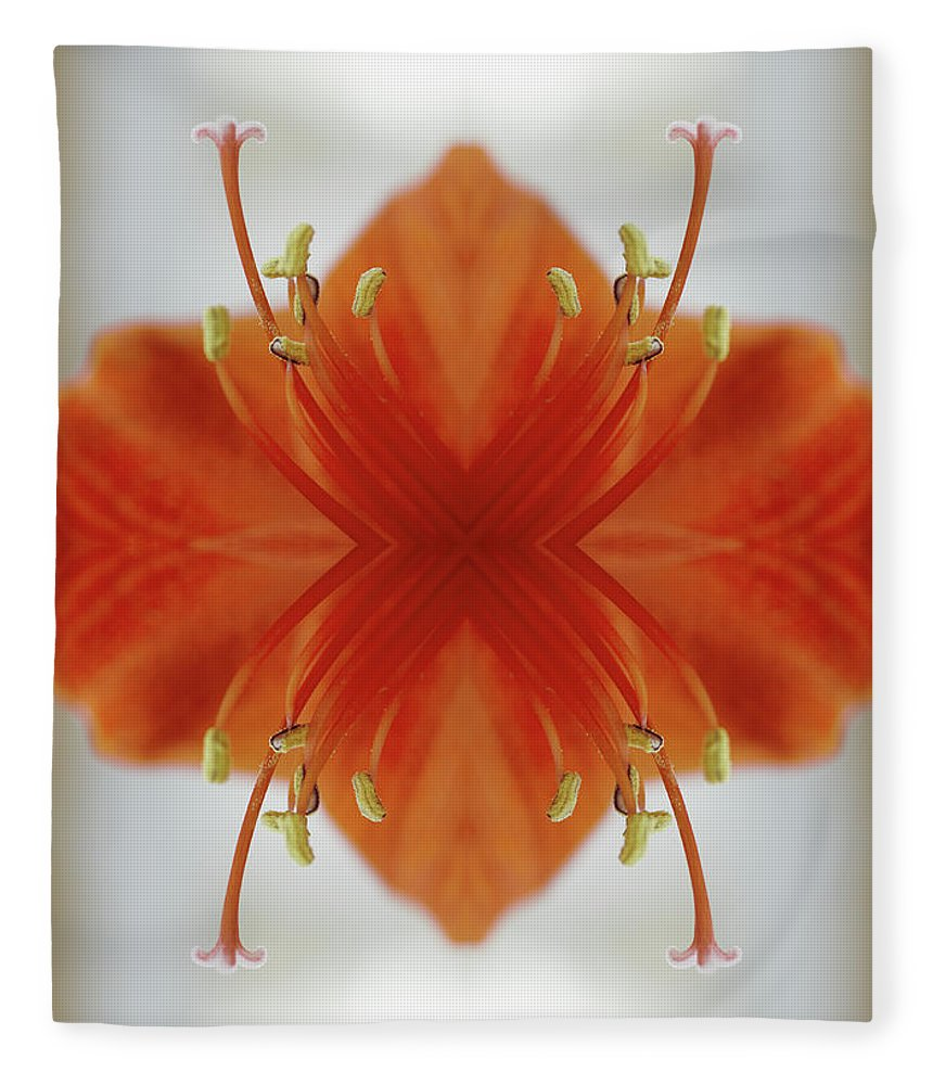 Tranquility Fleece Blanket featuring the photograph Red Amaryllis Flower by Silvia Otte