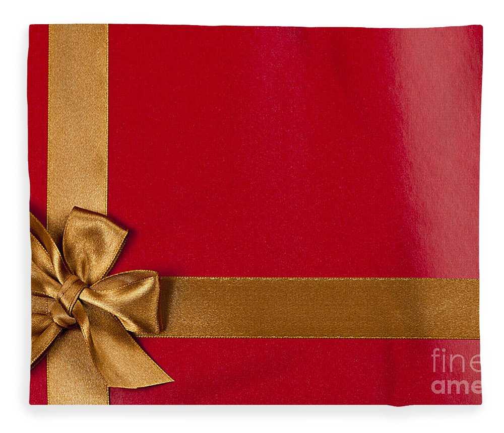 Gift Fleece Blanket featuring the photograph Red Gift Background With Gold Ribbon by Elena Elisseeva