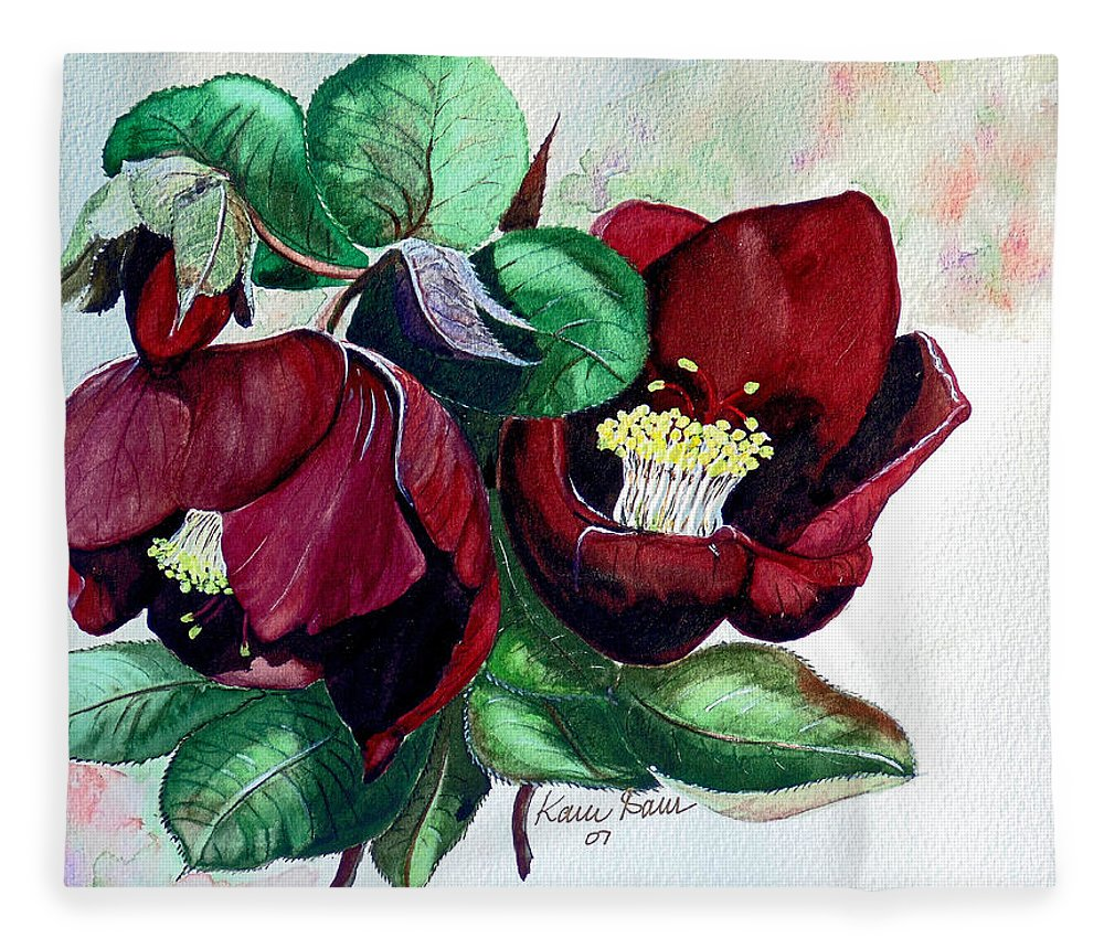 Red Helleborous Painting Flower Painting  Botanical Painting Watercolor Painting Original Painting Floral Painting Flower Painting Red Painting  Greeting Painting Fleece Blanket featuring the painting Red Helleborous by Karin Dawn Kelshall- Best
