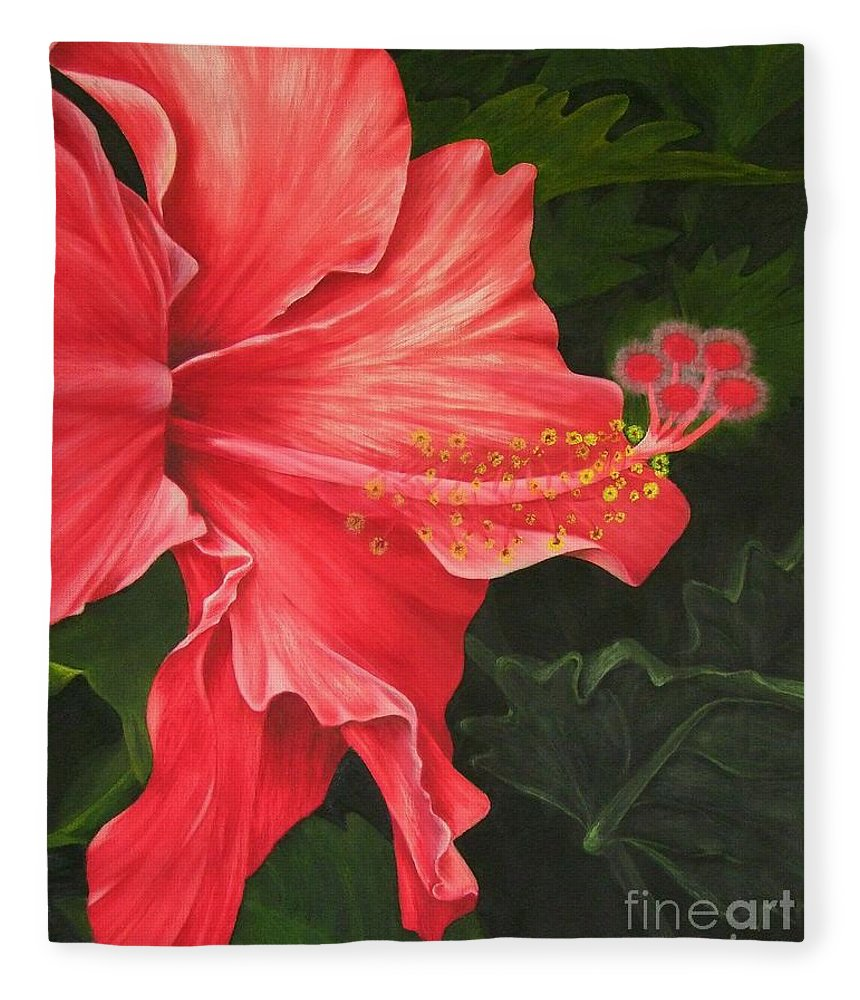 Red Flowers Fleece Blanket featuring the painting Red Hibiscus by Mary Deal