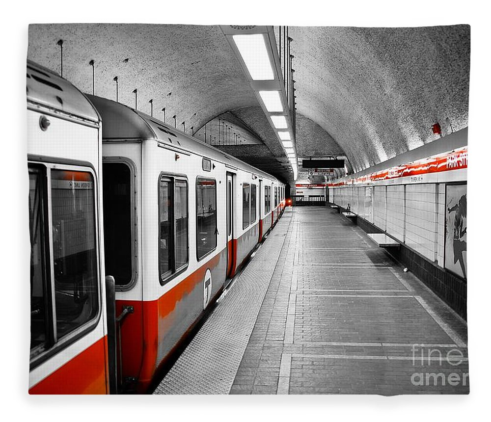 Red Fleece Blanket featuring the photograph Red Line by Charles Dobbs