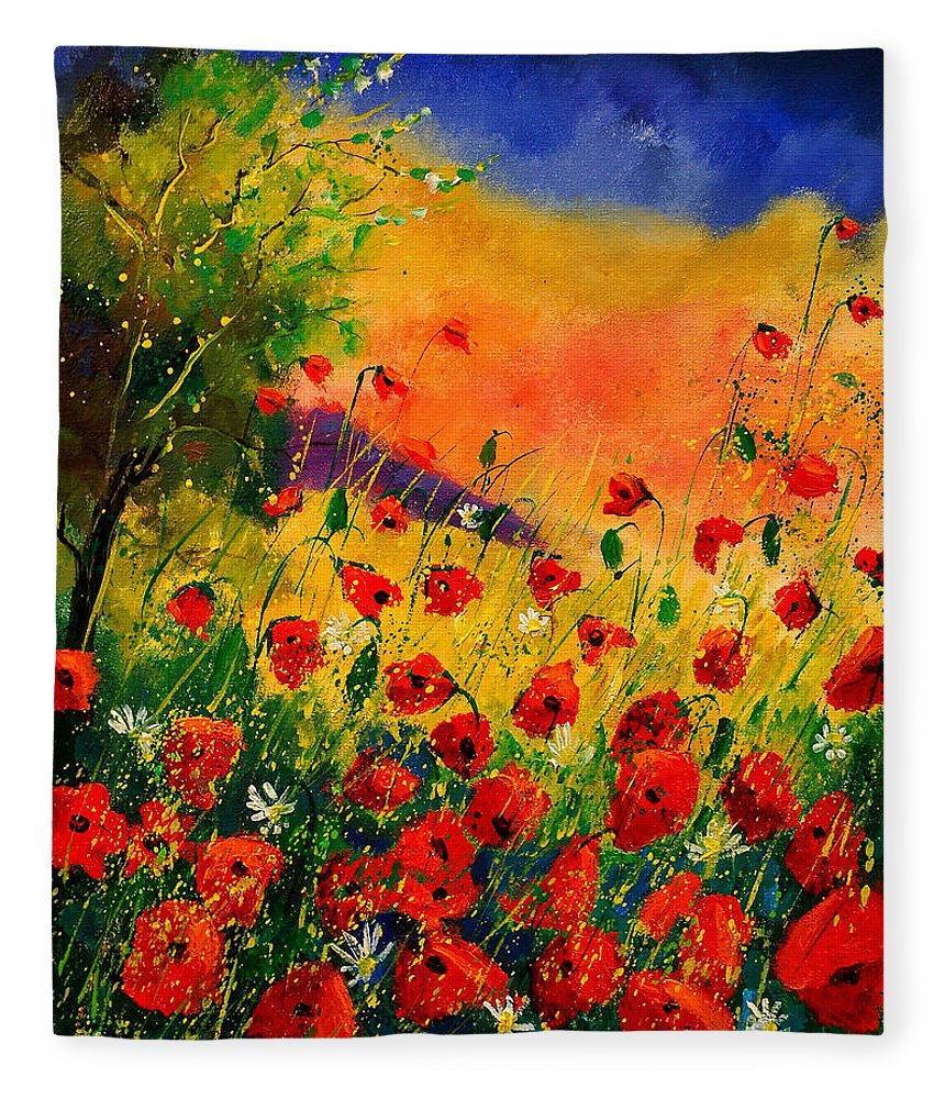 Poppies Fleece Blanket featuring the painting Red Poppies 45 by Pol Ledent