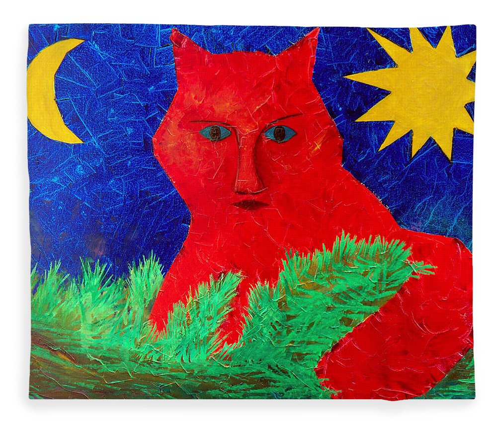 Fantasy Fleece Blanket featuring the painting Red by Sergey Bezhinets
