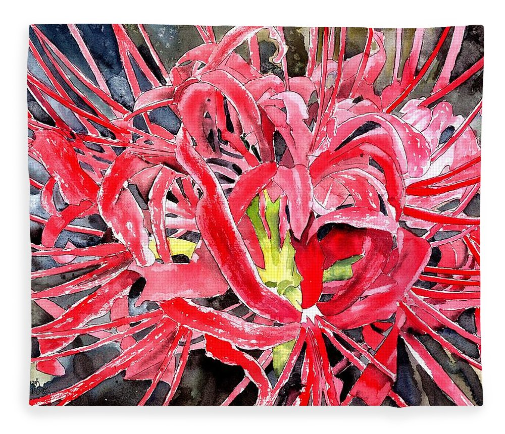 Watercolor Fleece Blanket featuring the painting Red Spider Lily Flower Painting by Derek Mccrea