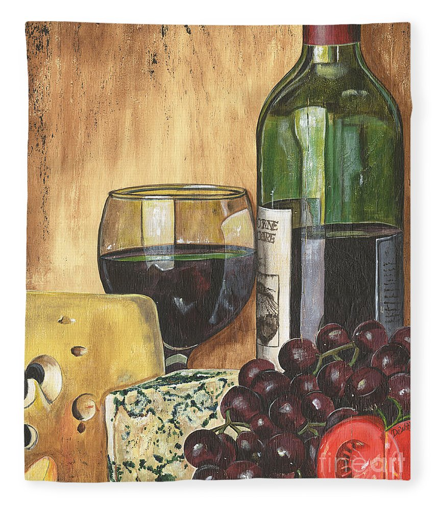 Red Wine Fleece Blanket featuring the painting Red Wine And Cheese by Debbie DeWitt