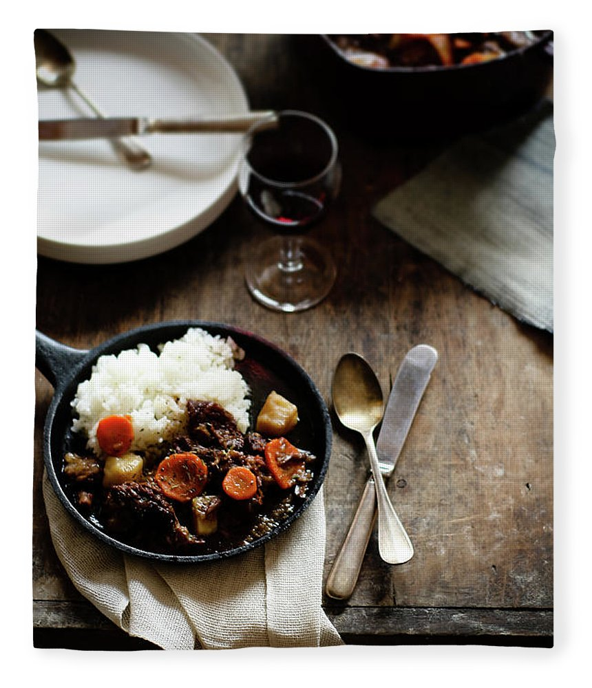 Spoon Fleece Blanket featuring the photograph Red Wine Braised Beef by 200