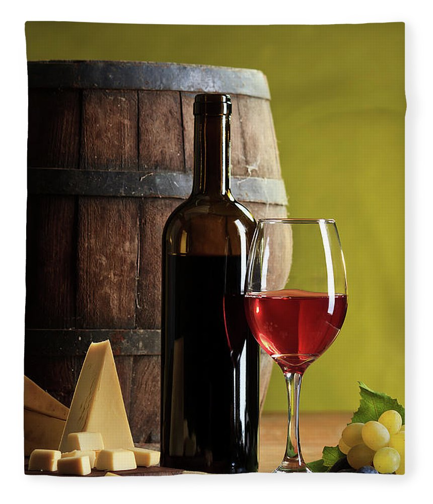Cheese Fleece Blanket featuring the photograph Red Wine Composition by Valentinrussanov
