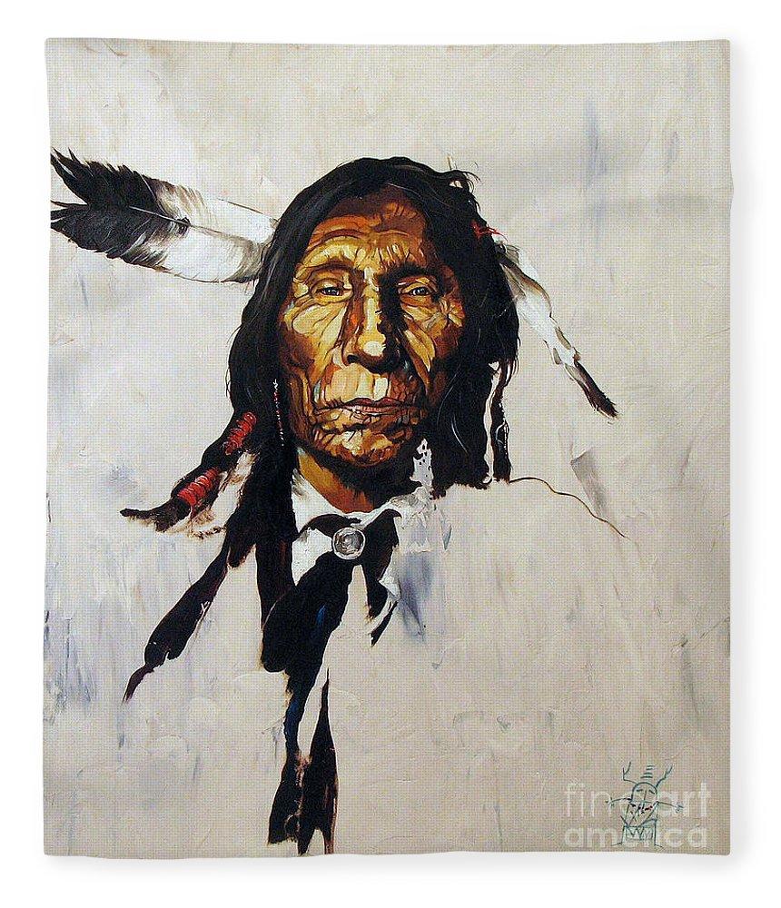 Southwest Art Fleece Blanket featuring the painting Remember by J W Baker