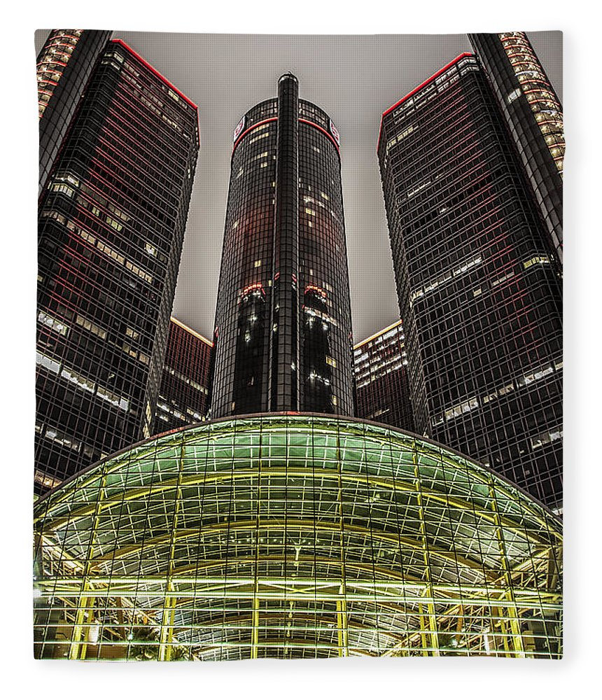 Renaissance Center Fleece Blanket featuring the photograph Renaissance Center Detroit Michigan by Nicholas Grunas