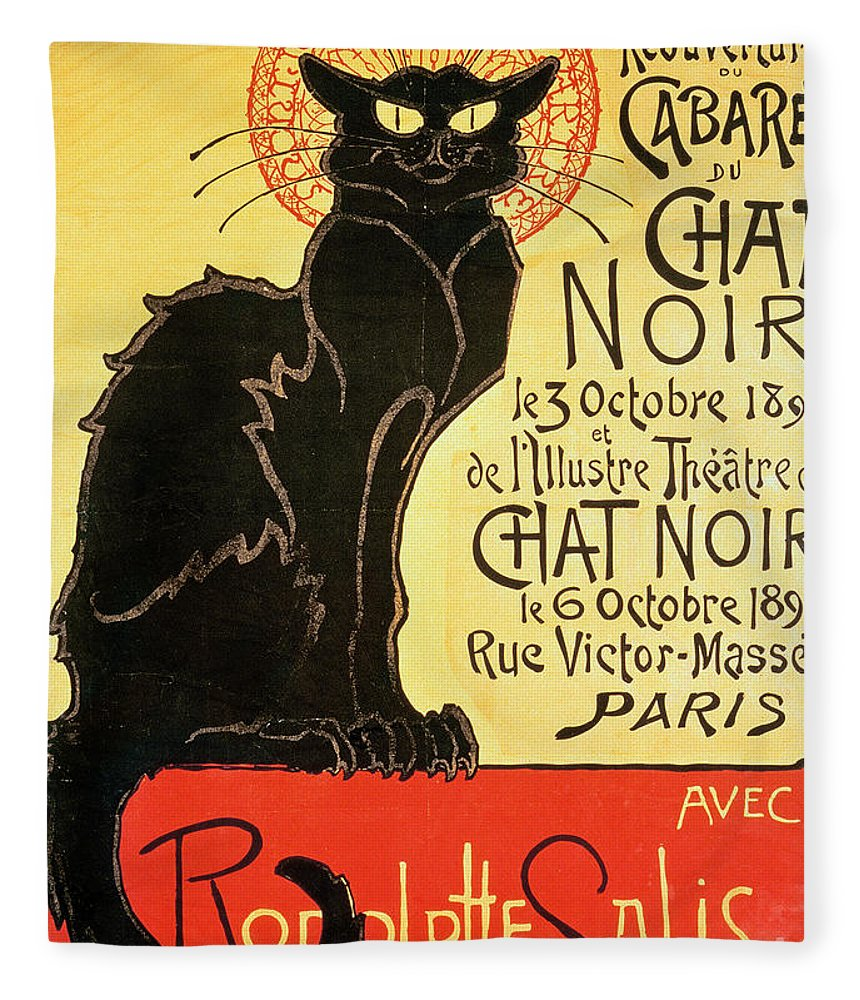 Paris Fleece Blanket featuring the painting Reopening of the Chat Noir Cabaret by Theophile Alexandre Steinlen