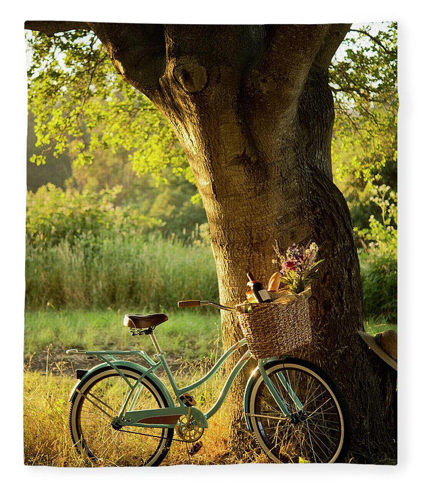Grass Fleece Blanket featuring the photograph Retro Bicycle With Red Wine In Picnic by Nightanddayimages