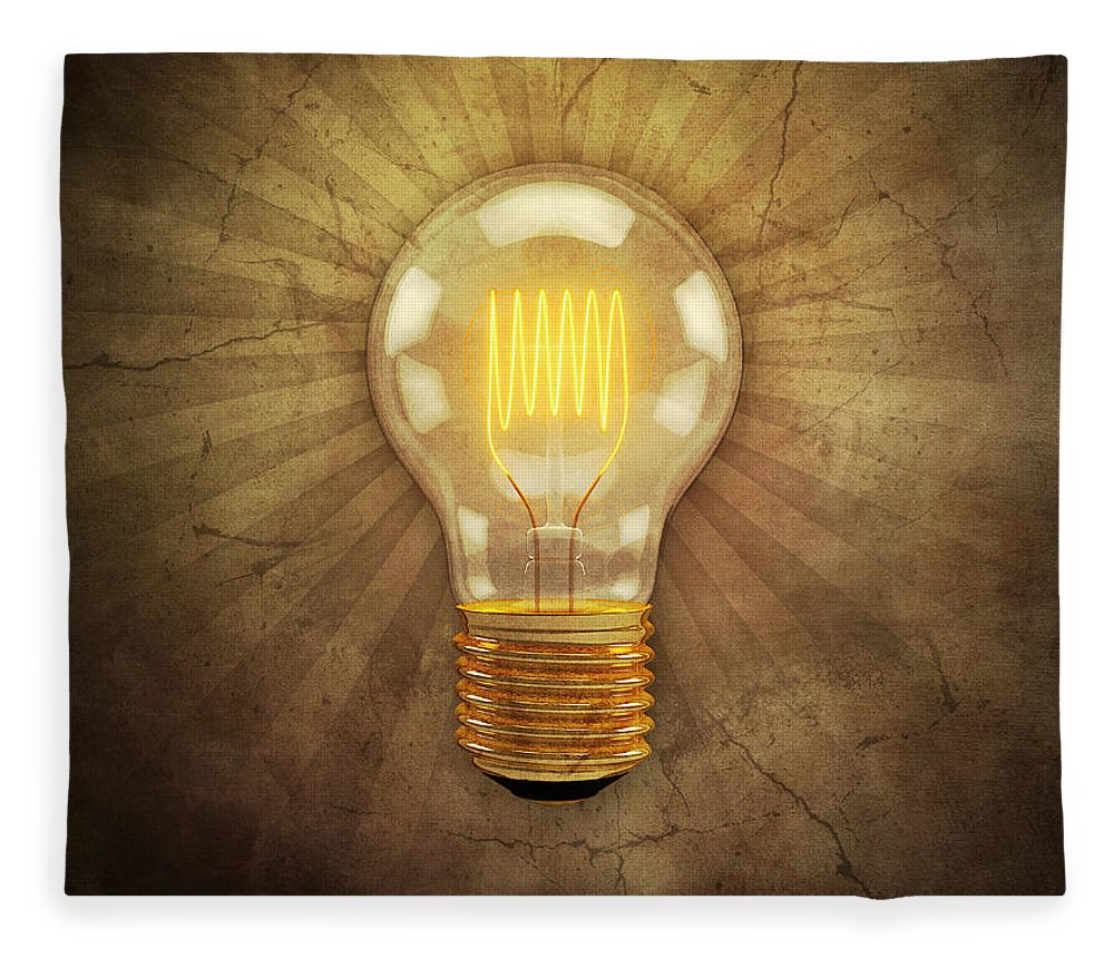 Lightbulb Fleece Blanket featuring the digital art Retro Light Bulb by Scott Norris