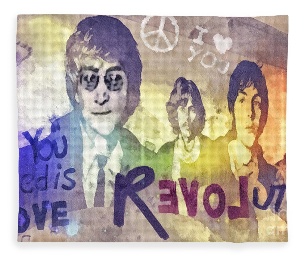 Revolution Fleece Blanket featuring the mixed media Revolution by Mo T