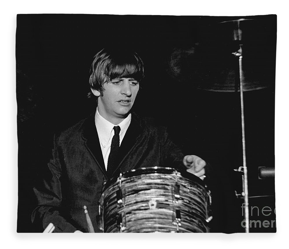 Beatles Fleece Blanket featuring the photograph Ringo Starr, Beatles Concert, 1964 by Larry Mulvehill