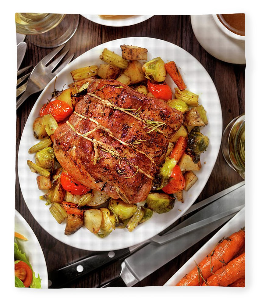 Gravy Fleece Blanket featuring the photograph Roasted Pork Loin Roast Dinner by Lauripatterson