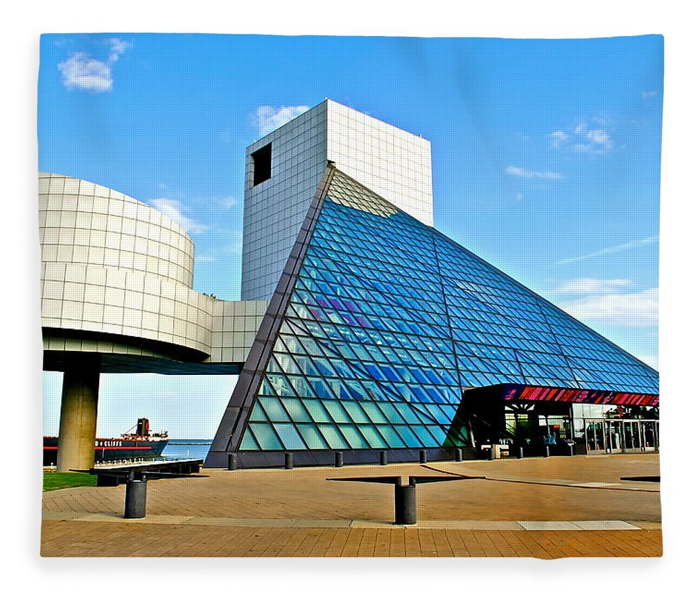 Rock Fleece Blanket featuring the photograph Rock n Roll Hall of Fame by Frozen in Time Fine Art Photography