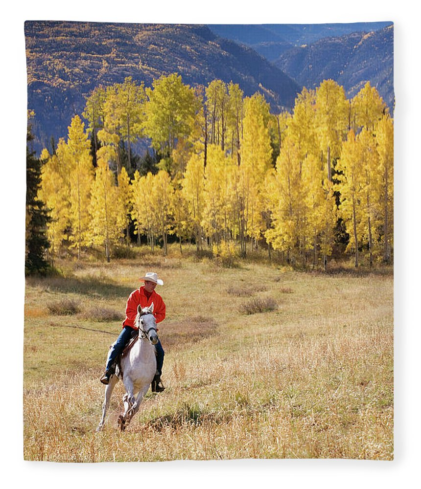 San Juan Mountains Fleece Blanket featuring the photograph Rocky Mountain Cowboy by Amygdala imagery