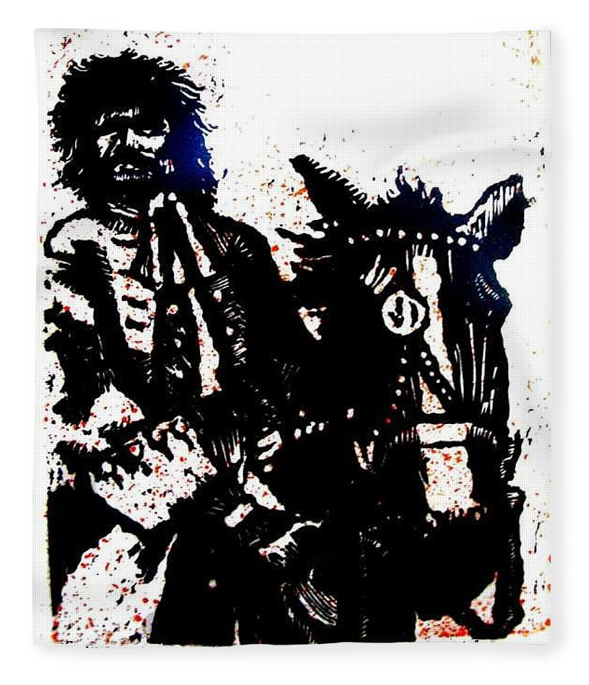 English Highwayman Fleece Blanket featuring the mixed media Rogue of the Road by Seth Weaver