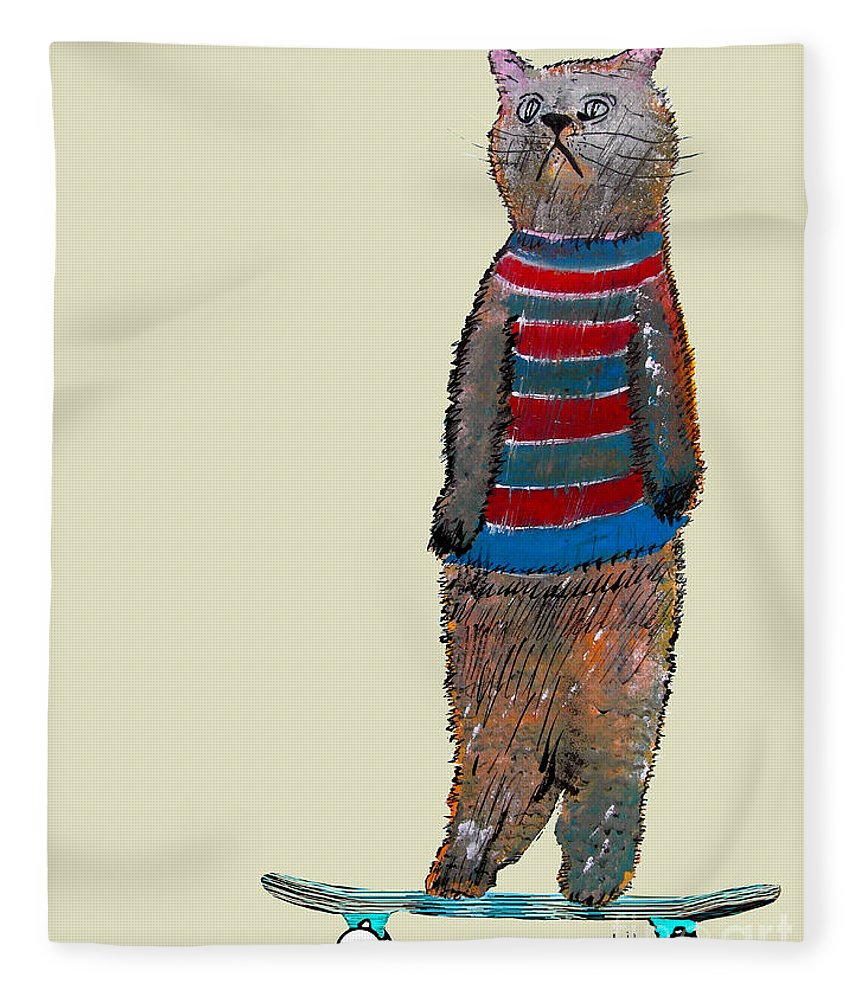 Cats Fleece Blanket featuring the painting Roll With It by Bri Buckley