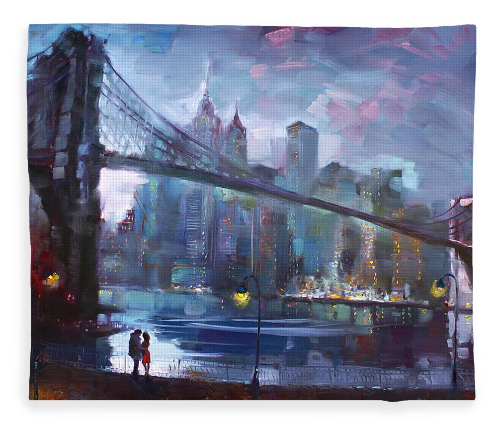 Romance Fleece Blanket featuring the painting Romance by East River II by Ylli Haruni