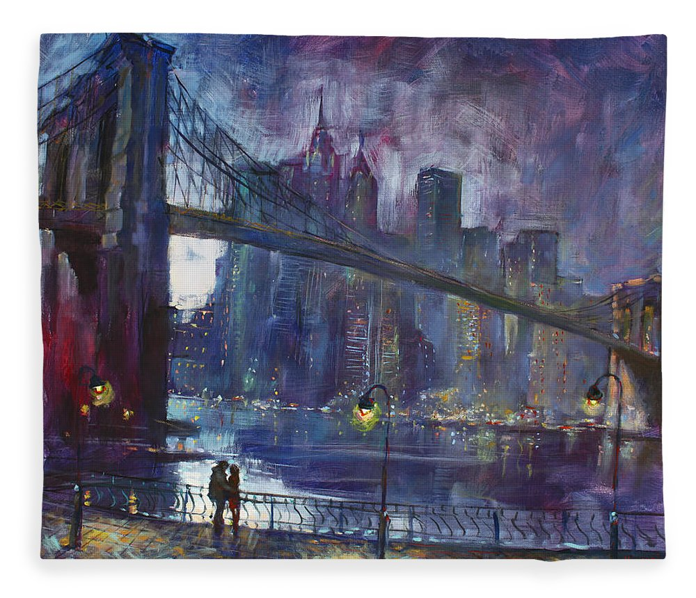 Brooklyn Bridge Fleece Blanket featuring the painting Romance by East River NYC by Ylli Haruni