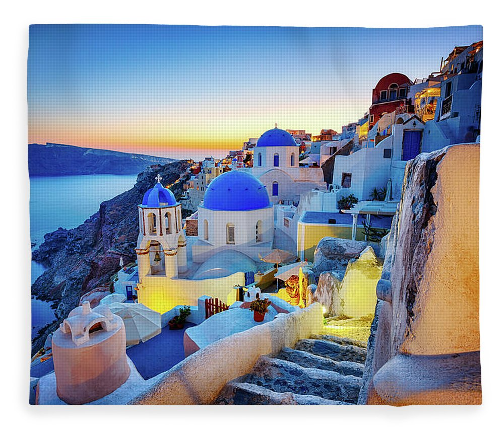 Greek Culture Fleece Blanket featuring the photograph Romantic Travel Destination Oia by Mbbirdy