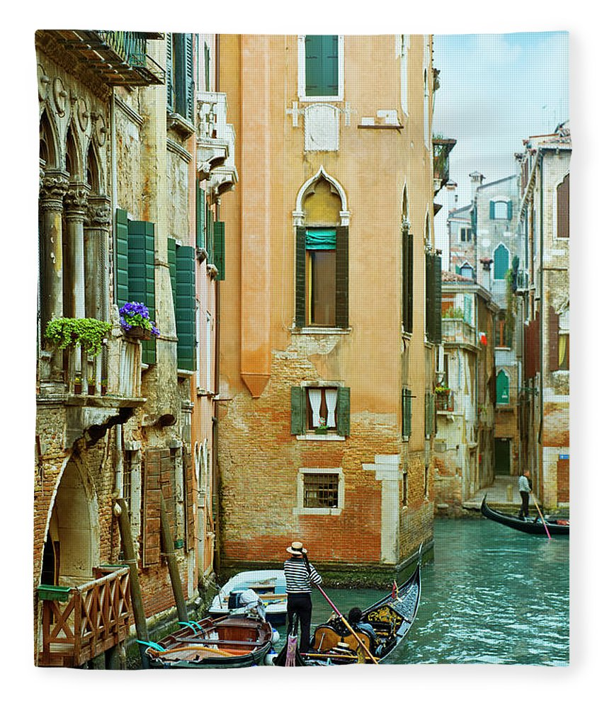 Heterosexual Couple Fleece Blanket featuring the photograph Romantic Venice Views From Gondola by Caracterdesign