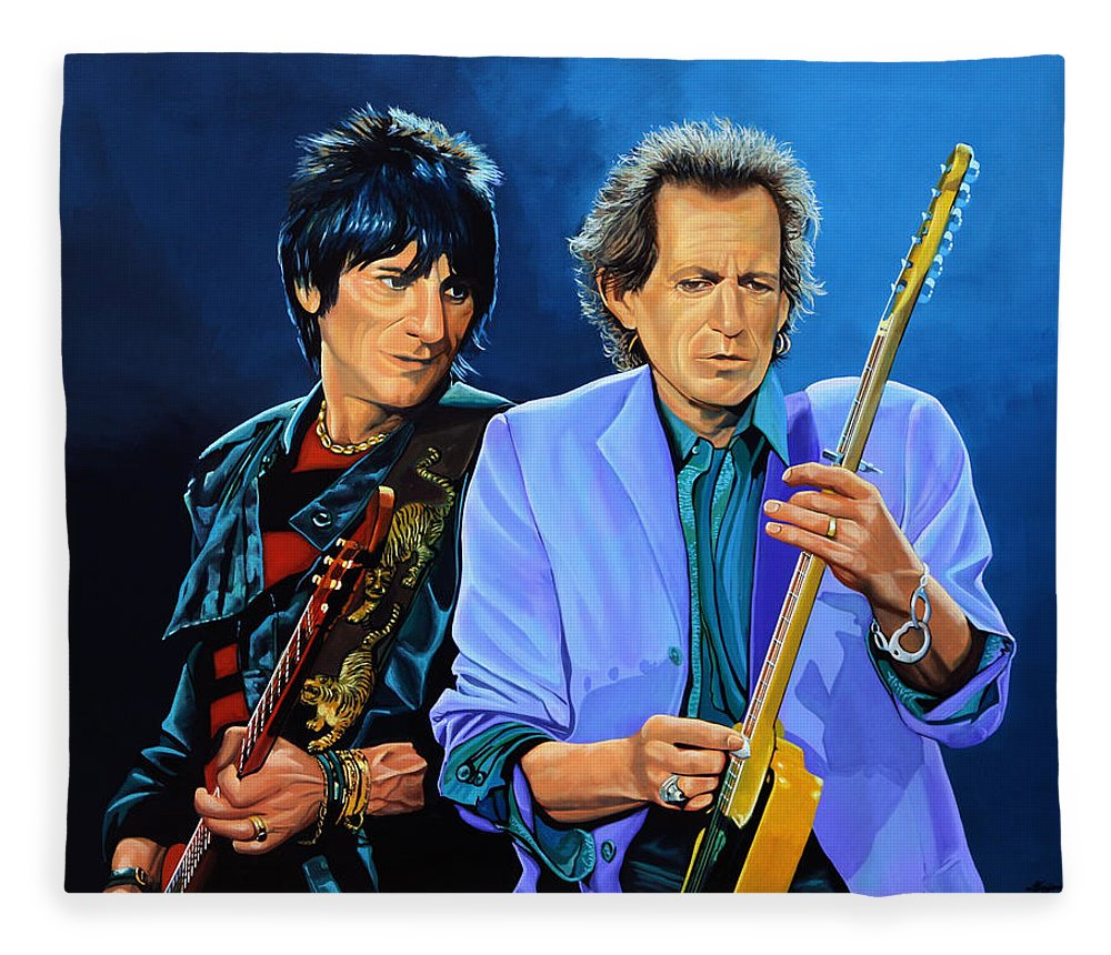 The Rolling Stones Fleece Blanket featuring the painting Ron Wood and Keith Richards by Paul Meijering