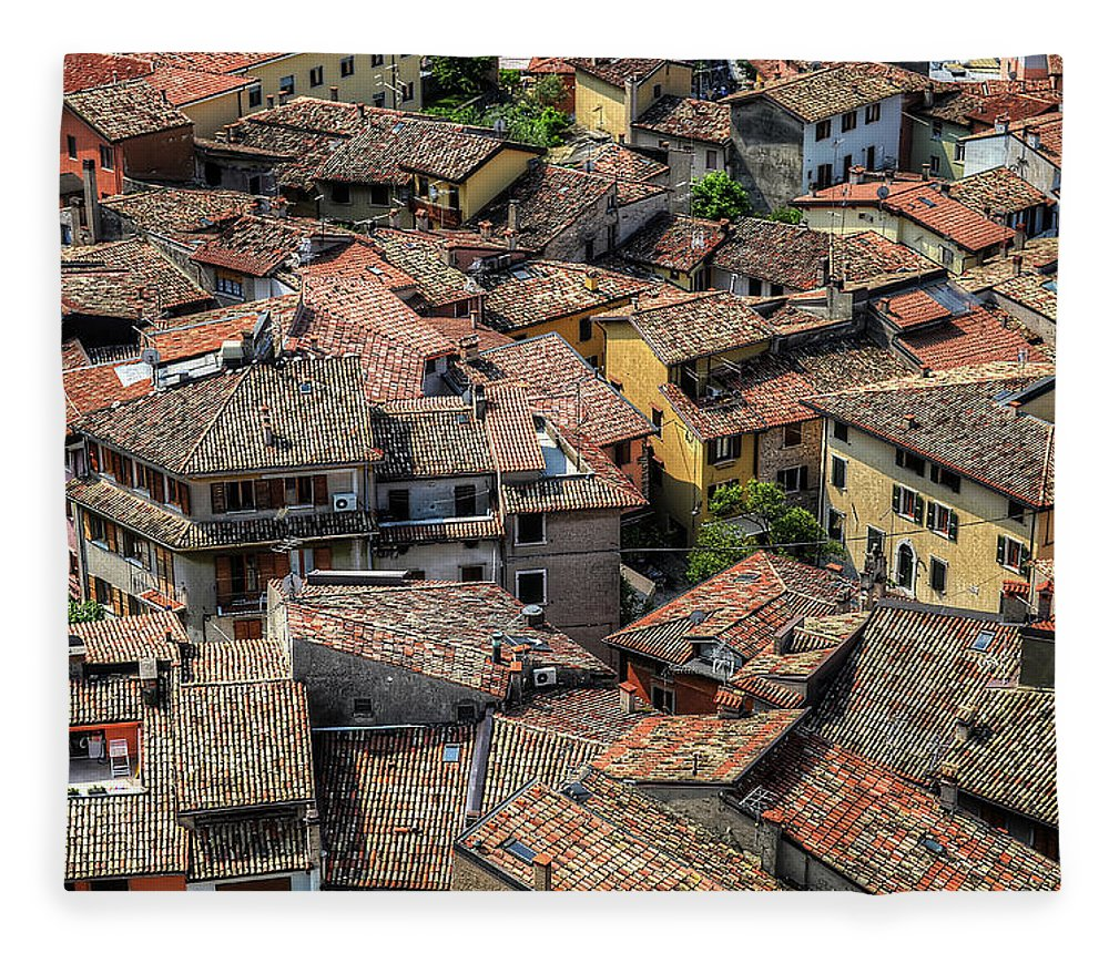 Tranquility Fleece Blanket featuring the photograph Roofs by Mento