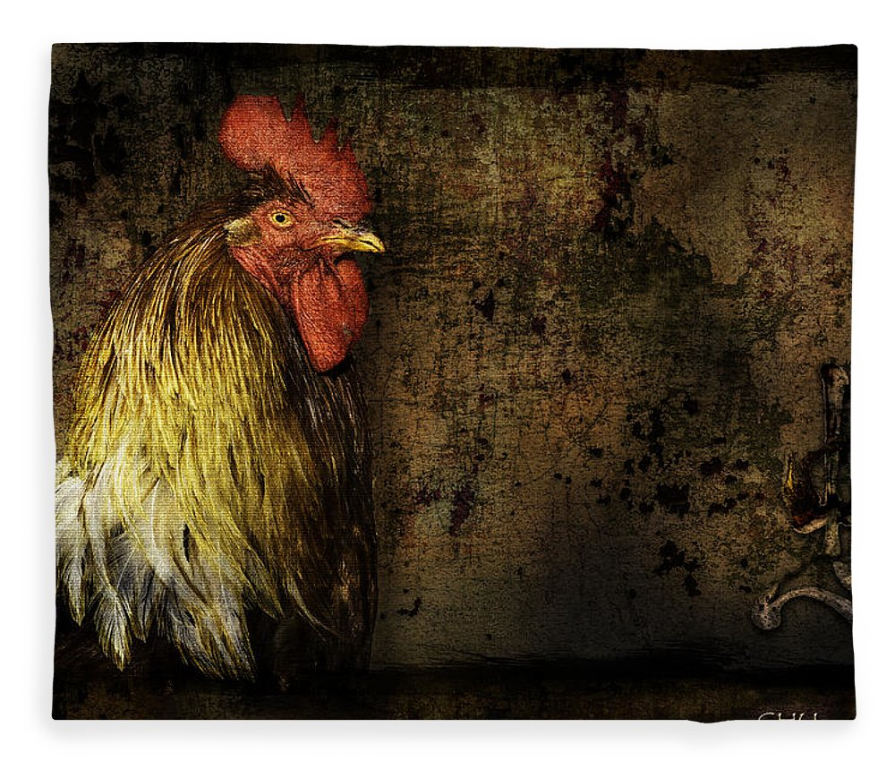 Animal Fleece Blanket featuring the mixed media Rooster With Brush Calligraphy Loyalty by Peter v Quenter