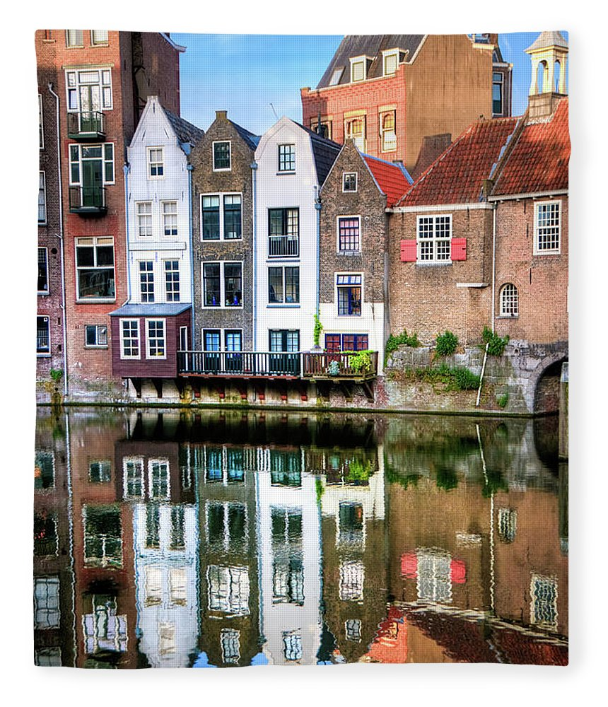 Dawn Fleece Blanket featuring the photograph Rotterdams Delfshaven With His Historic by Aleksandargeorgiev