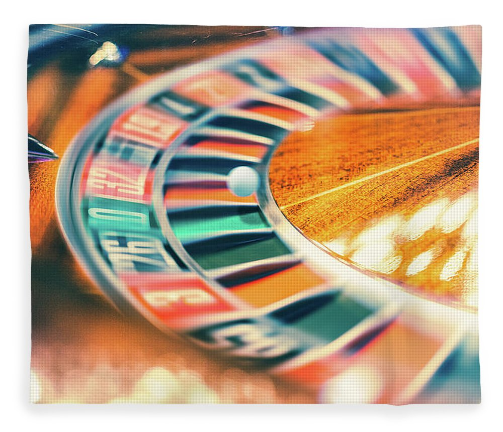 Risk Fleece Blanket featuring the photograph Roulette Wheel In Motion by Deimagine