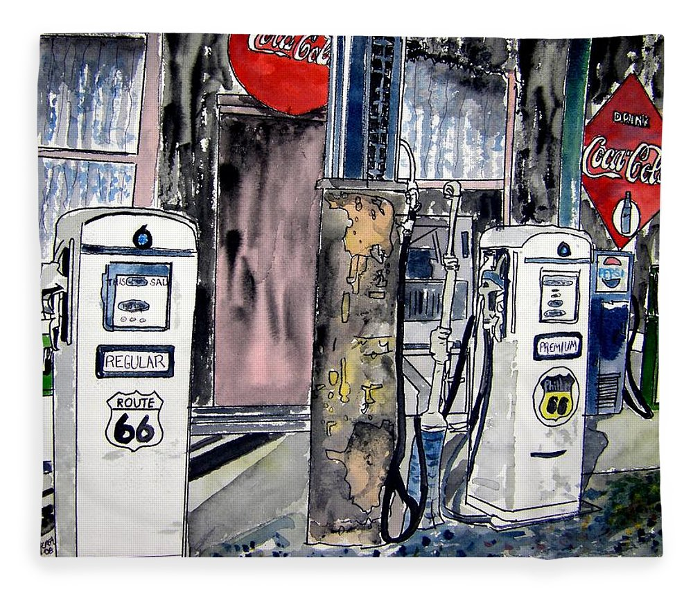 Watercolor Fleece Blanket featuring the painting Route 66 gas station by Derek Mccrea