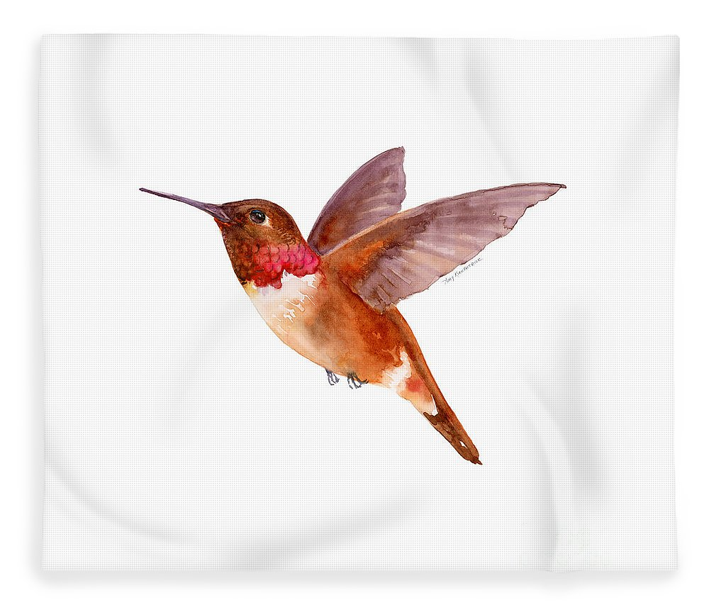 Bird Fleece Blanket featuring the painting Rufous Hummingbird by Amy Kirkpatrick