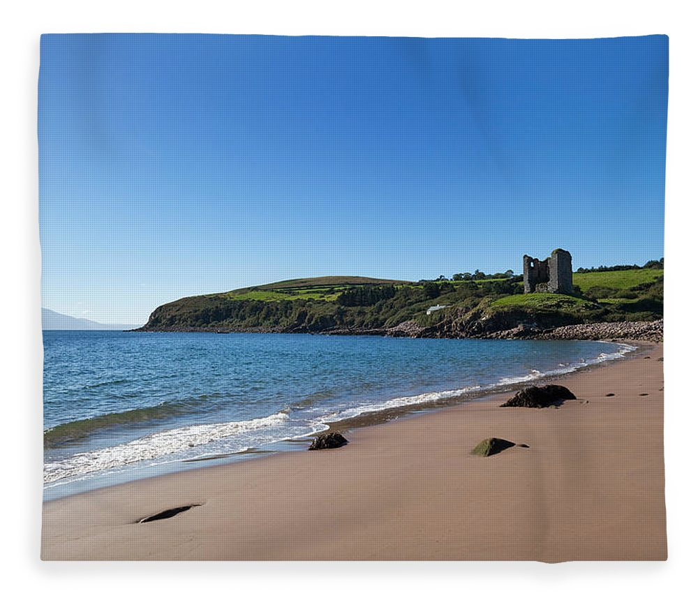 Photography Fleece Blanket featuring the photograph Ruined 16th Century Minard Castle by Panoramic Images