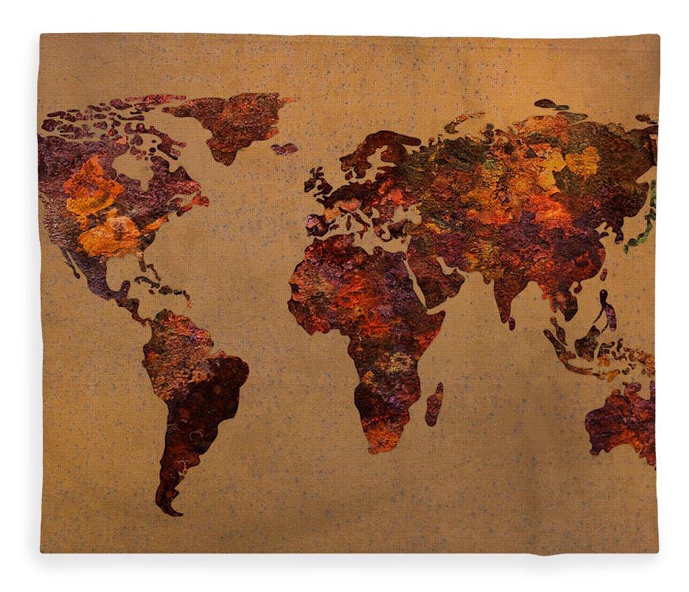 Rusty vintage world map on old metal sheet wall fleece blanket for rusty fleece blanket featuring the mixed media rusty vintage world map on old metal sheet wall gumiabroncs Image collections