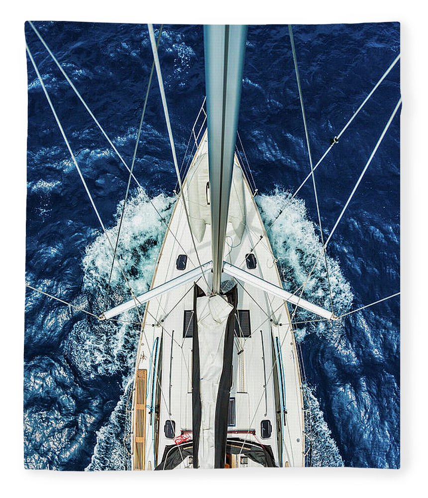 Adriatic Sea Fleece Blanket featuring the photograph Sailboat From Above by Mbbirdy