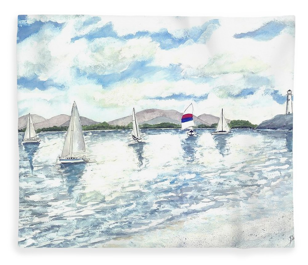 Sailboats Fleece Blanket featuring the painting Sailboats by Derek Mccrea