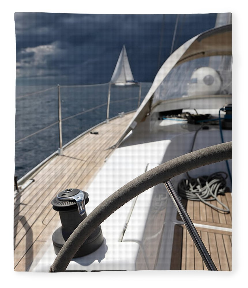 Adriatic Sea Fleece Blanket featuring the photograph Sailboats In Mediterranean Sea by Vuk8691