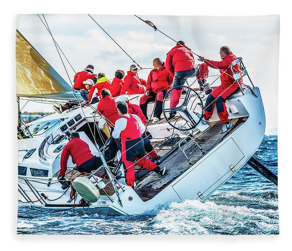Adriatic Sea Fleece Blanket featuring the photograph Sailing Crew On Sailboat During Regatta by Mbbirdy
