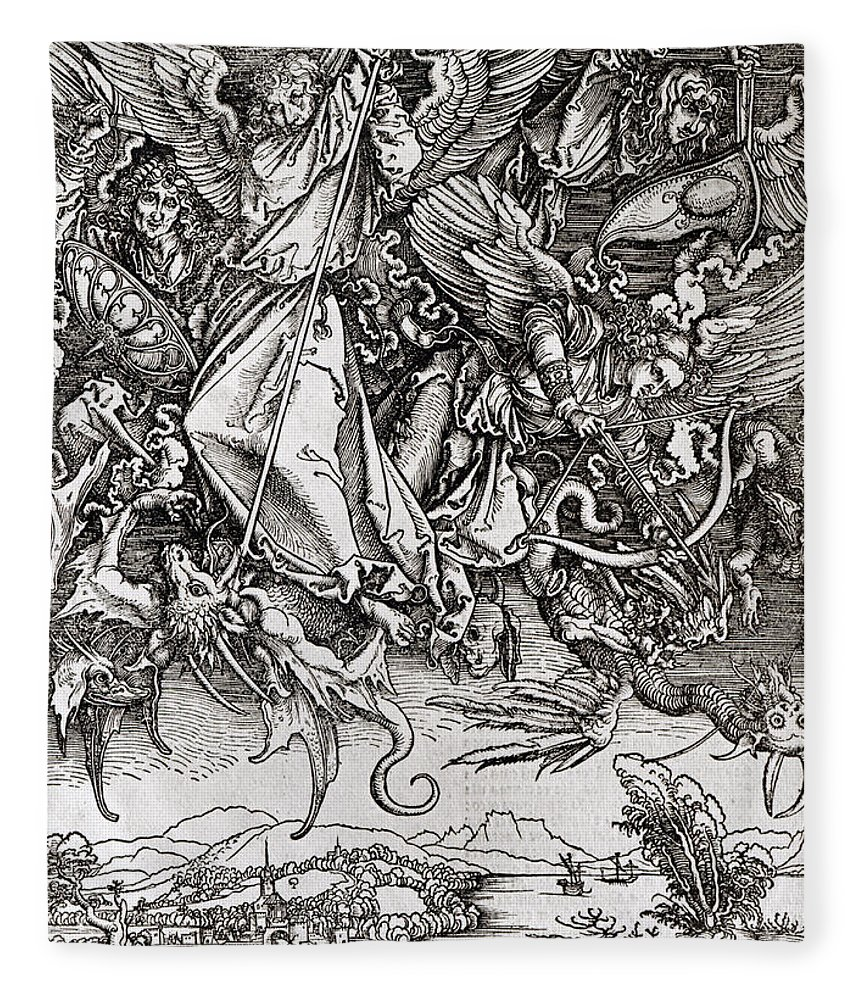 Saint Michel Fleece Blanket featuring the drawing Saint Michael And The Dragon by Albrecht Durer or Duerer