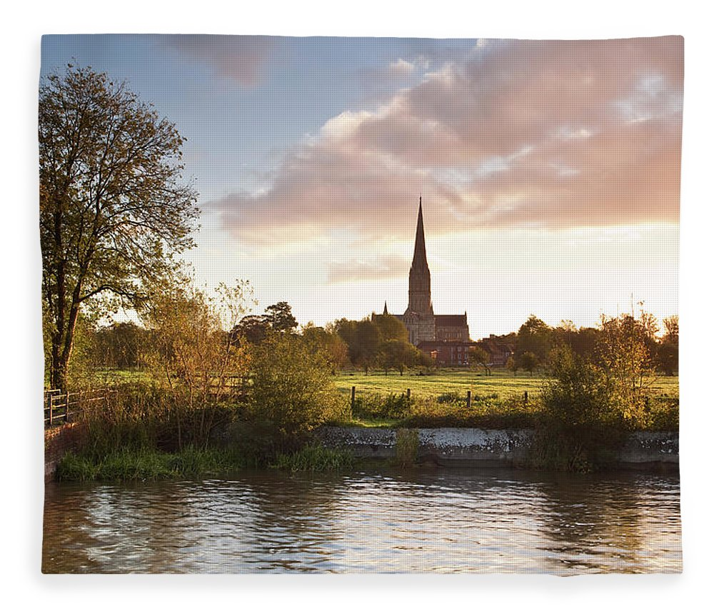 Tranquility Fleece Blanket featuring the photograph Salisbury Cathedral And The River Avon by Julian Elliott Photography