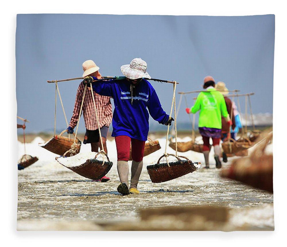 Child Fleece Blanket featuring the photograph Salt Farm In Thailand by Monthon Wa
