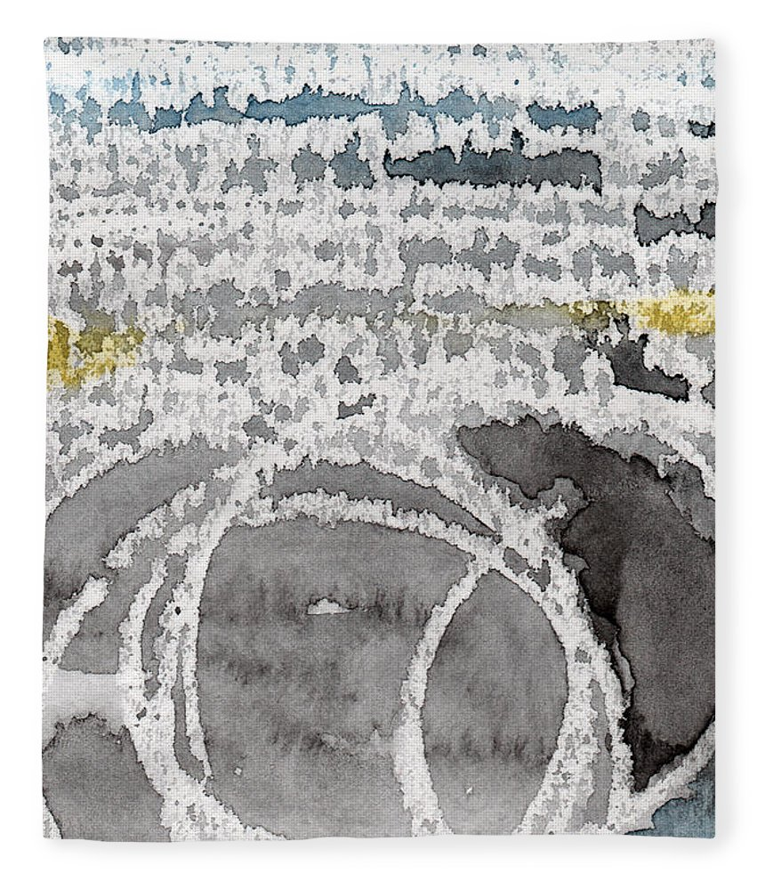 Water Fleece Blanket featuring the painting Saltwater- abstract painting by Linda Woods