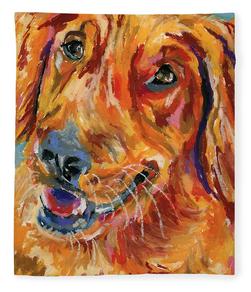 Dog Fleece Blanket featuring the painting Sam's Smile by Stephen Anderson