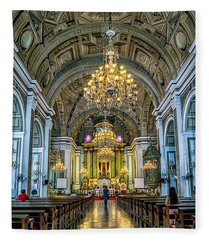 Catholic Fleece Blanket featuring the photograph San Agustin Church by Adrian Evans