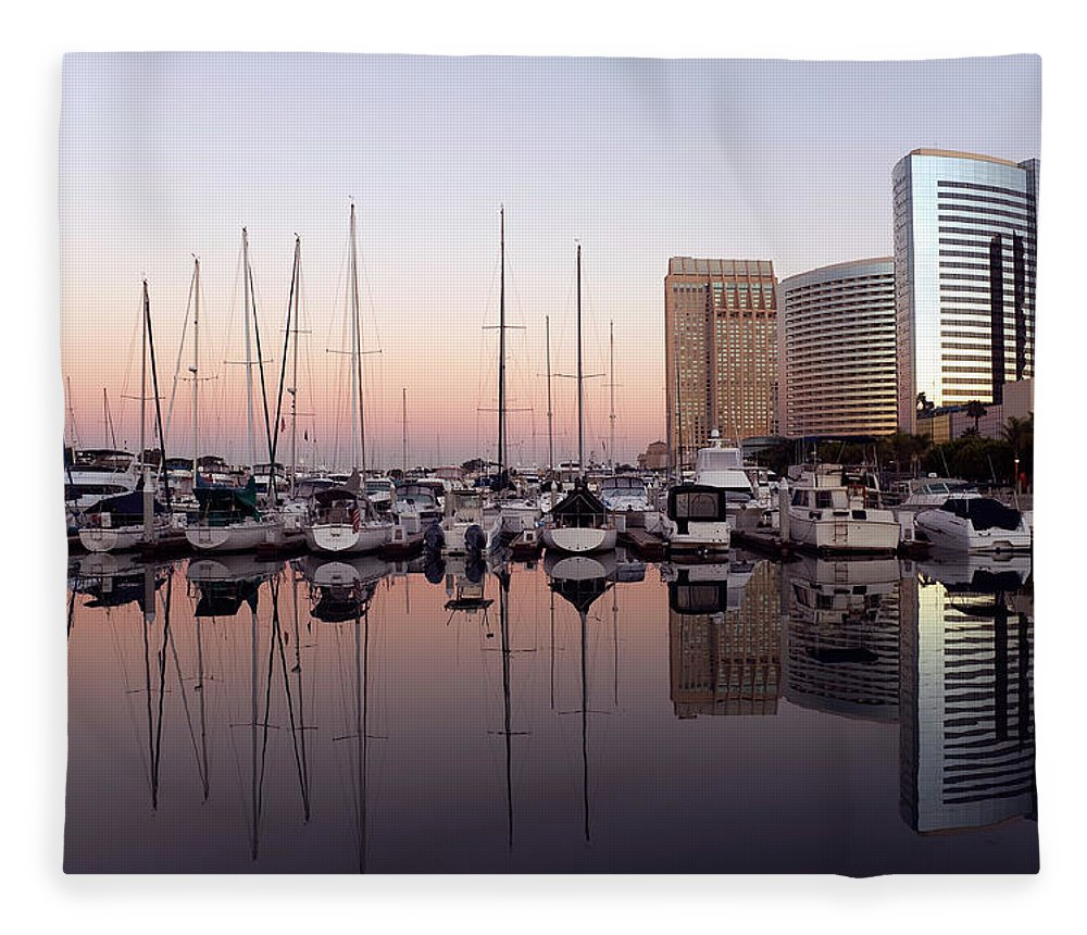 Scenics Fleece Blanket featuring the photograph San Diego Skyline And Marina by Kevinjeon00