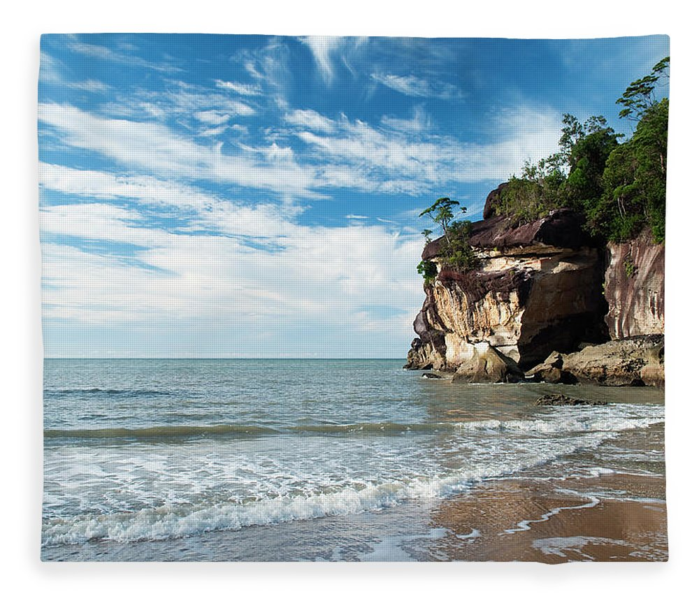 Scenics Fleece Blanket featuring the photograph Sandstone Cliffs By Ocean At Telok by Anders Blomqvist