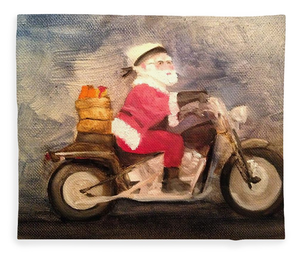 Santa Fleece Blanket featuring the painting Santa Clause is Coming to Town by Sheila Mashaw