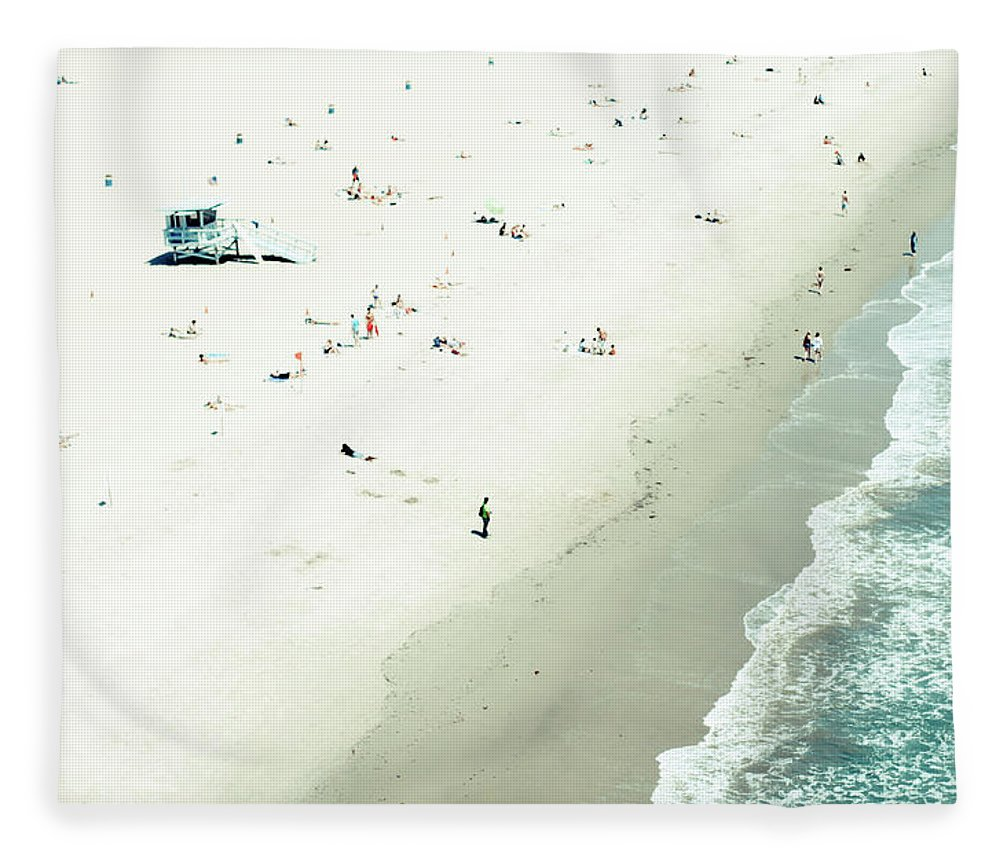 Water's Edge Fleece Blanket featuring the photograph Santa Monica Beach by Angela Auclair